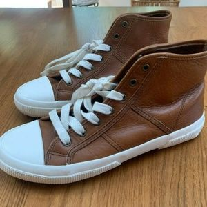 Ralph Lauren Tan Lace Up Low Top Leather Sneakers